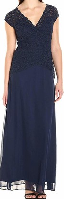 Onyx Nite Women's Long Lace and Mesh Mock Two Piece Gown