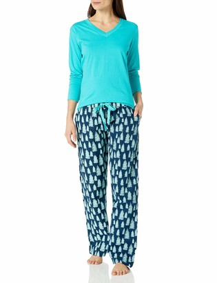 Bottoms Out Women's Knit Top with Flannel Pant Pajama Set