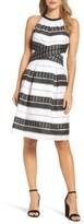 Adrianna Papell Women's Stripe Fit & Flare Dress