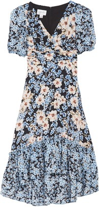 Donna Morgan Floral Short Sleeve High/Low Midi Dress