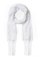 Quiz White Sequin Flower Scarf
