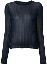 Helmut Lang ribbed sheer T-shirt - women - Nylon/Metallic Fibre - S