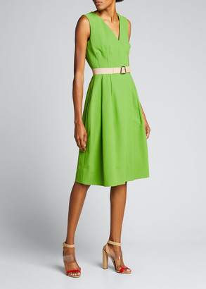 Akris Double-Weave A-Line Leather Belted Dress