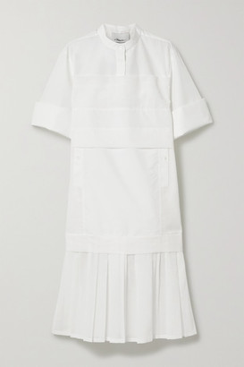 3.1 Phillip Lim Pleated Voile-trimmed Cotton-blend Poplin Dress - White