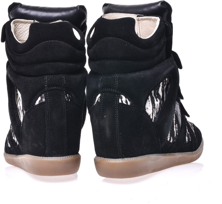 Isabel Marant Benett ponyskin and suede trainers