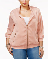Soprano Trendy Plus Size Sateen Bomber Jacket