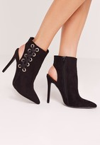 Missguided Black Faux Suede Cross Strap Heeled Ankle Boots