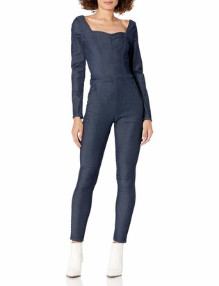 GUESS Women's Long Sleeve Naia Stretch Denim Jumpsuit