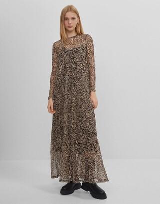 Bershka mesh tiered maxi smock dress in leopard print