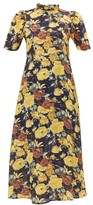 Sea Ella Floral-print Crepe Midi Dress - Womens - Yellow Multi
