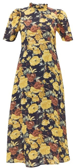 Sea Ella Floral Print Cotton Midi Dress - Womens - Yellow Multi