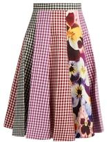 Christopher Kane Gingham and pansy-print A-line cotton skirt