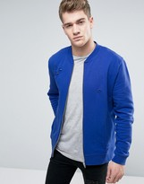 Asos Jersey Bomber Jacket With Distressing
