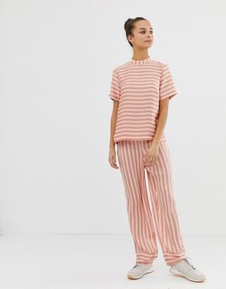 Pieces Tika stripe wide leg trousers-Pink