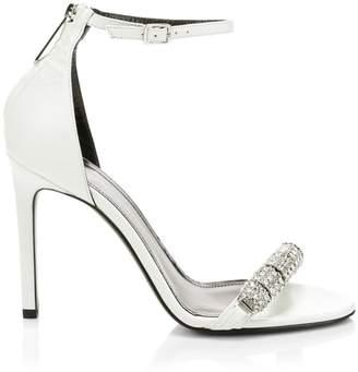 Calvin Klein Asymmetric Crystal Metallic Leather Sandals