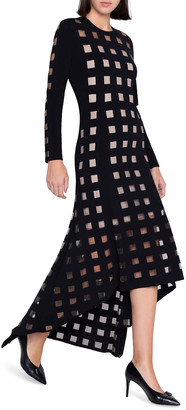 Akris Tulle-Checked Long-Sleeve Gown