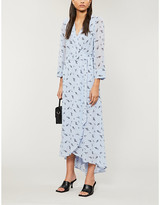 Ganni Graphic-print georgette maxi wrap dress