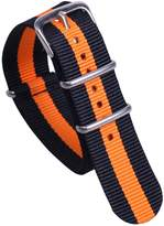 AUTULET Black/Orange Colorful NATO Style Sturdy Exotic Soft Nylon Sport Men's Wrist Watch Band Wristband