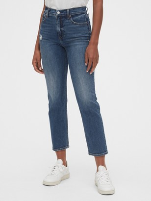 Gap High Rise Distressed Cheeky Straight Jeans with Secret Smoothing Pockets