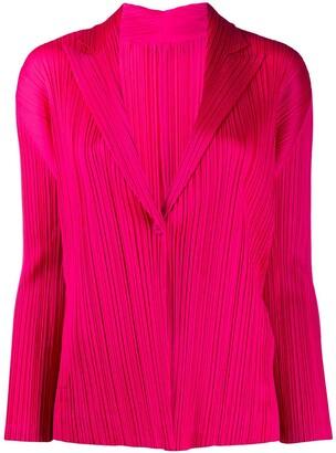 Pleats Please Issey Miyake Long-Sleeved Pleat Detail Blazer