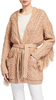 Mother of Pearl Willow Cable-Knit Cardigan with Tassels