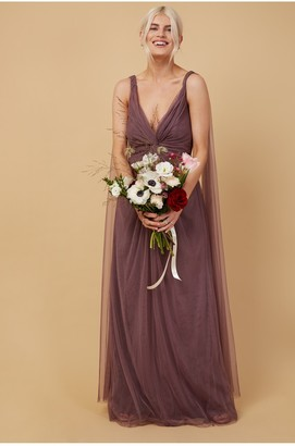 Little Mistress Bridesmaid Eden Mauve Knot-Front Maxi Dress