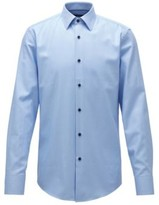 HUGO BOSS - Slim Fit Shirt In Structured Cotton With Contrast Buttons - Light Blue