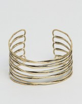 Asos Caged Bracelet Cuff In Worn Gold