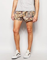 Jaded London Suedette Short Shorts With Ikat Print