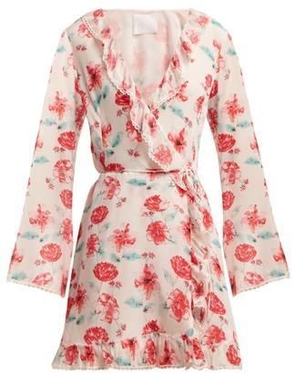 Athena Procopiou - Floral-print Silk Wrap Dress - Womens - Pink Multi