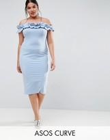 Asos Ruched Ruffle Bardot With Seams Dress