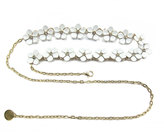 Neiman Marcus Floral Chain Belt, White