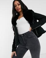 Asos Design DESIGN denim black biker jacket with fur collar