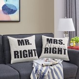 Delmer Mr. Right and Mrs. Always Right Quote 2 Piece Throw Pillow Set Winston Porter