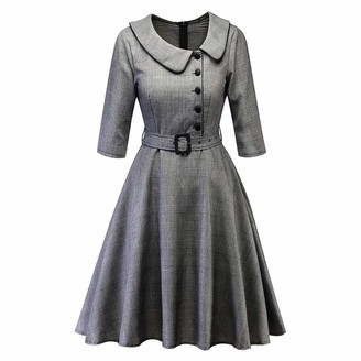 Bringbring Women Vintage Princess Plaid Peter Pan Collar Irregular Party Aline Swing Dress Grey