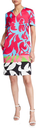 Escada Diviru Easy Colorblock V-Neck Dress with Pockets