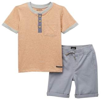 Hudson Jeans Henley Stripe T-Shirt & Twill Shorts (Toddler Boys)