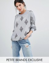 Starry Eyed Petite Beaded Satin Sweatshirt