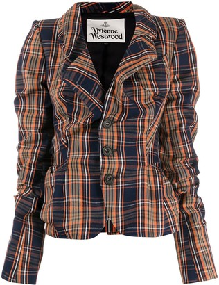Vivienne Westwood Ruched-Look Check-Pattern Blazer