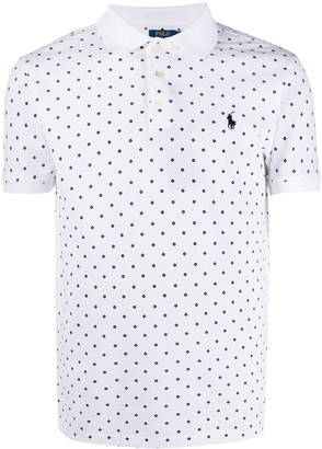 Polo Ralph Lauren Grid Printed Cotton Blend Polo Shirt