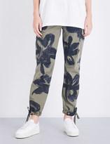 Moschino Graffiti-print straight cotton-twill cargo trousers