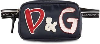Dolce & Gabbana Nylon Belt Bag W/ Logo Patches