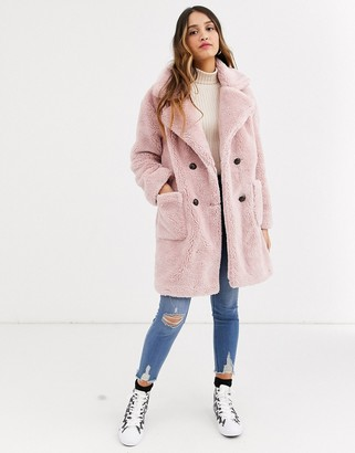 Qed London double breasted teddy coat in pink