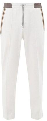 Brunello Cucinelli Striped-trim Cotton-blend Jersey Track Pants - Mens - Light Grey