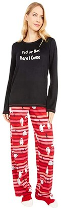Hue Not Just Yeti Knit PJ Set with Socks (Black) Women's Pajama Sets