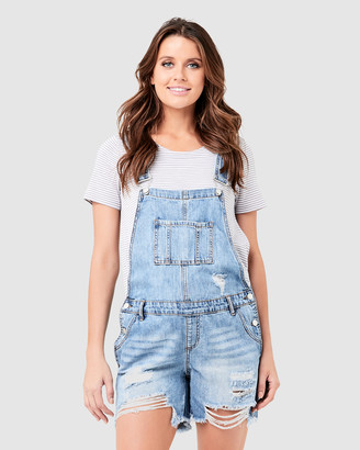 Ripe Maternity Women's Blue Playsuits - Denim Short Overalls - Size One Size, XS at The Iconic