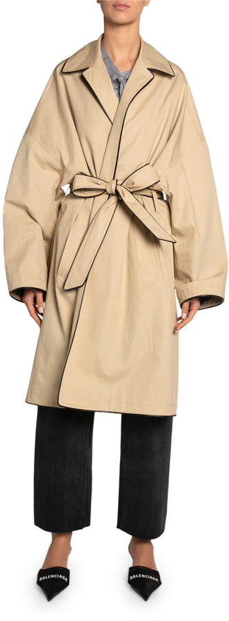 Balenciaga Wrapped Cotton Cocoon Short Coat