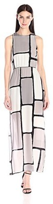 Halston Women's Sleeveless Round Neck Printed Maxi Dress with Cross Back