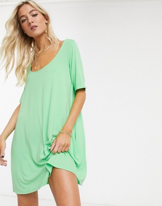 ASOS DESIGN swing t-shirt dress with concealed pockets in green