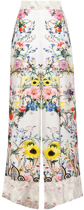 Camilla Crystal-embellished Floral-print Silk-twill Wide-leg Pants